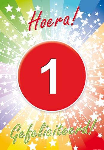1 jaar verjaardag poster (bron: Feestwinkel Fun en Feest)