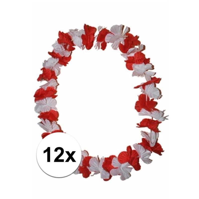 12 Hawaii kransen rode en witte bloemen (bron: Feestwinkel Fun en Feest)
