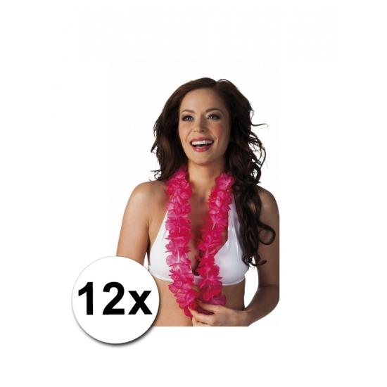 12 roze Hawaii kransen (bron: Feestwinkel Fun en Feest)