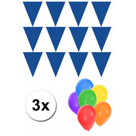 3 blauwe vlaggenlijnen groot incl ballonnen (bron: Feestwinkel Fun en Feest)