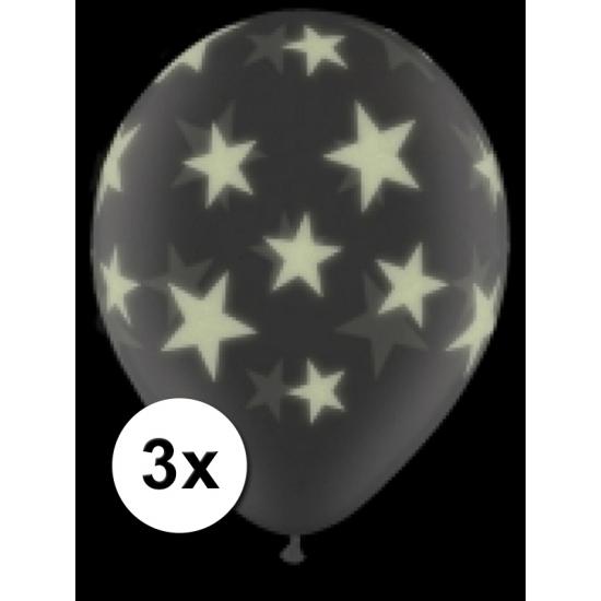 3 doorzichtige glow in the dark sterren ballonnen 28 cm