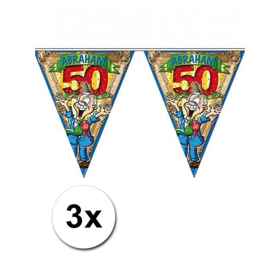 50 jaar vlaggenlijn voor de Abraham 3 stuks (bron: Feestwinkel Fun en Feest)
