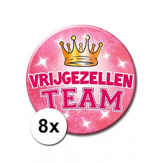 8 XXL roze speldjes Vrijgezellen Team
