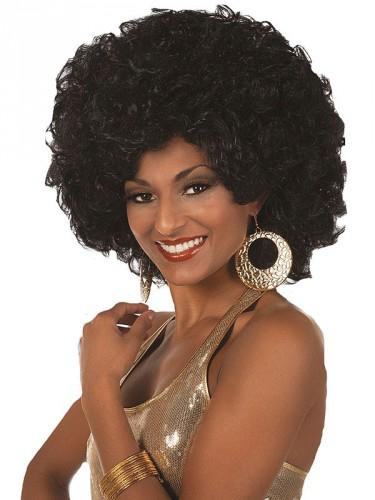 Afro pruik voor dames zwart (bron: Feestwinkel Fun en Feest)