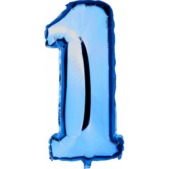Blauw ballon cijfer 1