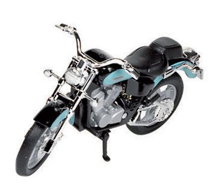 Blauwe Honda shadow race motor (bron: Feestwinkel Fun en Feest)