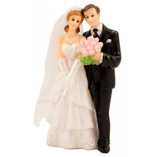 Bruidstaart decoratie bruidspaar met boeket fun en feest