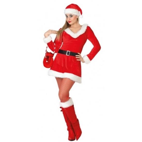 Dames kerstkleding jurkje met V-hals (bron: Feestwinkel Fun en Feest)