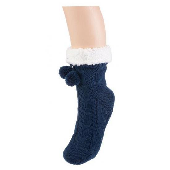 Dames sokken voor in huis navy (bron: Feestwinkel Fun en Feest)