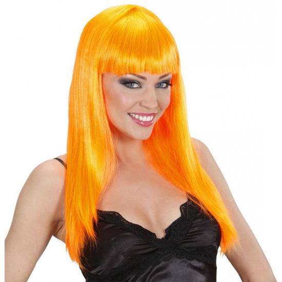 Damespruik oranje stijl haar (bron: Feestwinkel Fun en Feest)