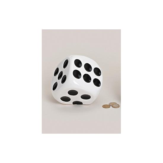 Dobbelstenen spaarpotten wit (bron: Feestwinkel Fun en Feest)
