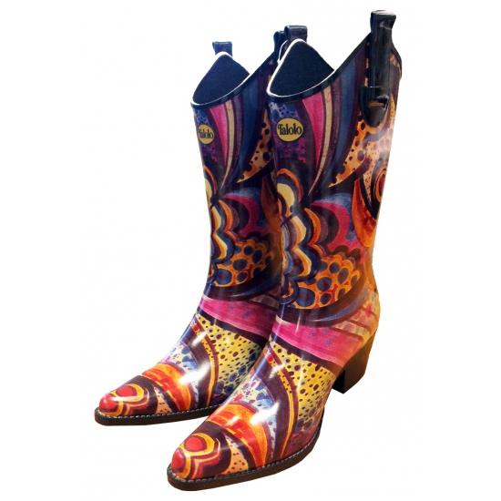 Festival cowboy laarzen bloemenprint (bron: Feestwinkel Fun en Feest)