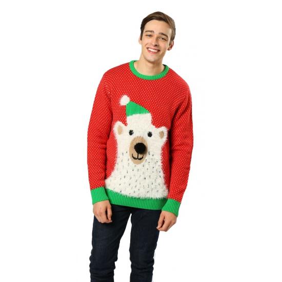 Foute kersttrui ijsbeer met belletjes
