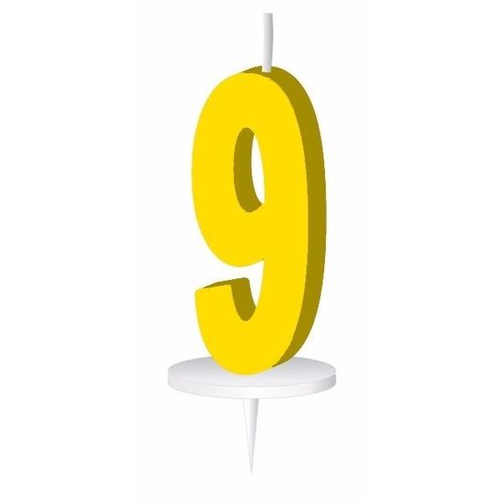 Geel taart kaarsje cijfer 9