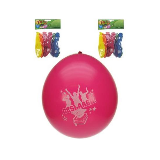 Gekleurde geslaagd ballonnen 8x (bron: Feestwinkel Fun en Feest)