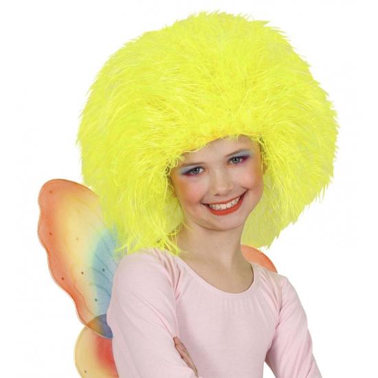 Gele afro kinderpruik (bron: Feestwinkel Fun en Feest)