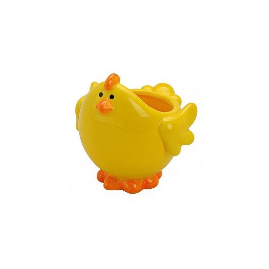 Gele kip schaal voor paaseieren (bron: Feestwinkel Fun en Feest)