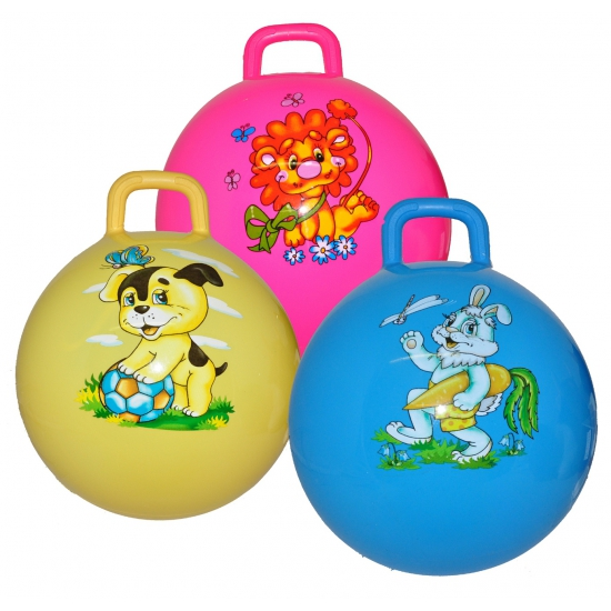 Gele skippyballen met hond (bron: Feestwinkel Fun en Feest)