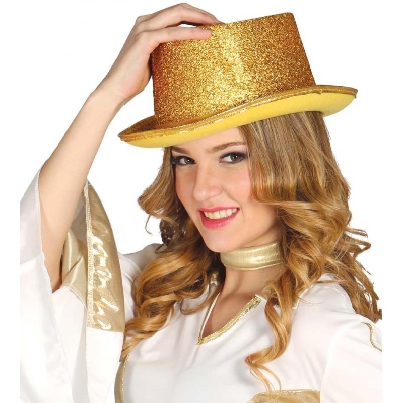 Glitter hoge hoed goud (bron: Feestwinkel Fun en Feest)