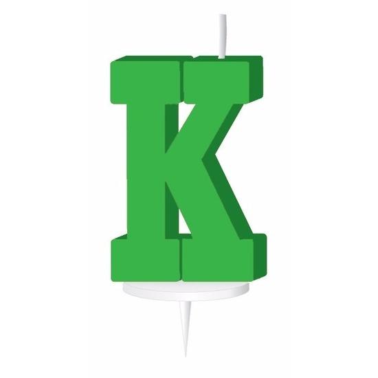 Groen taart kaarsje letter K