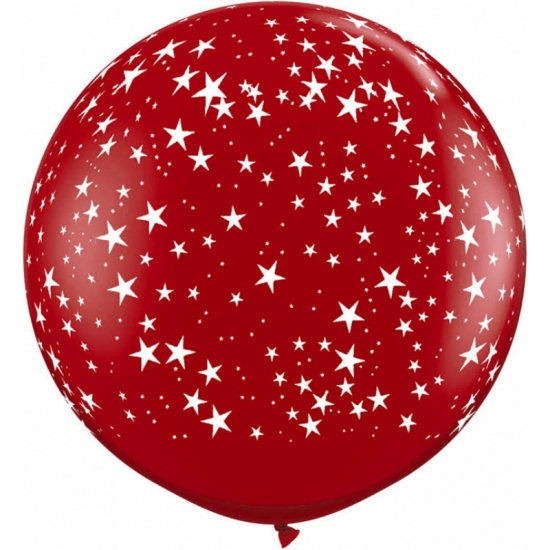 Grote rode ballon met sterren 90 cm (bron: Feestwinkel Fun en Feest)