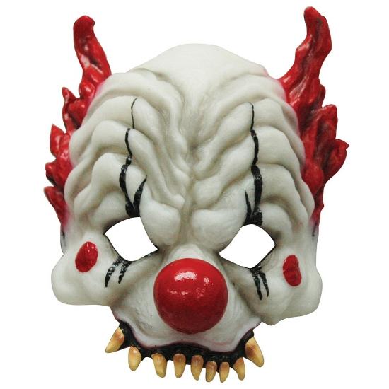 Half gezichtsmasker horror clown (bron: Feestwinkel Fun en Feest)