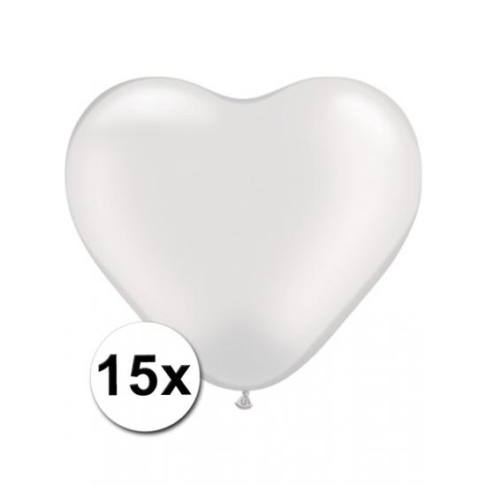 Hart ballonnen wit 15 stuks (bron: Feestwinkel Fun en Feest)