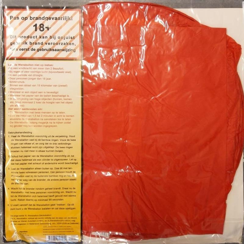 Hartvormige wensballon rood 100 cm