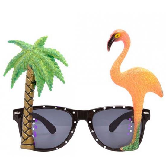 Hawaii thema bril met flamingo glazen (bron: Feestwinkel Fun en Feest)
