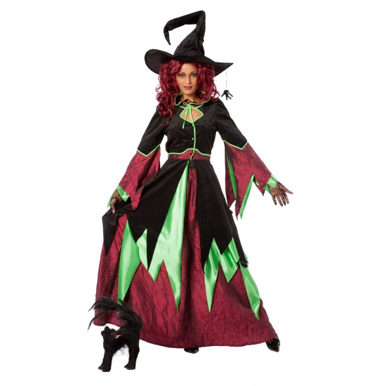 Heksen kostuums rood/groen dames (bron: Feestwinkel Fun en Feest)