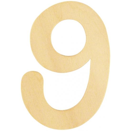 Houten cijfertje 9 (bron: Feestwinkel Fun en Feest)