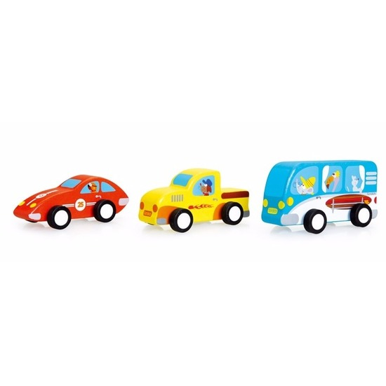ScratcheuropeHouten speelgoed autoset 3 stuks 9, 5 cm
