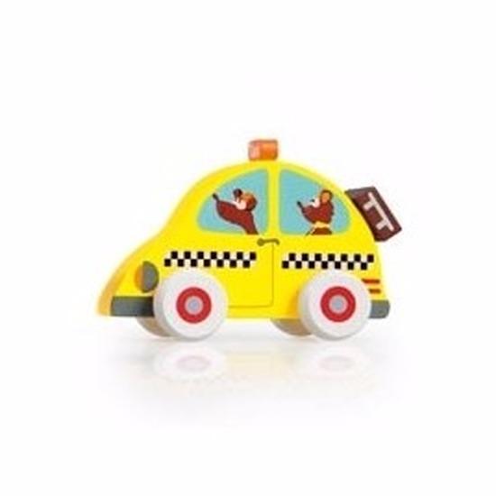 Houten voertuigen gele taxi 10 cm