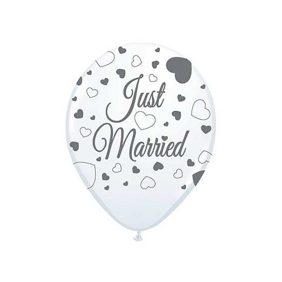Just Married versiering balonnen 8 st (bron: Feestwinkel Fun en Feest)