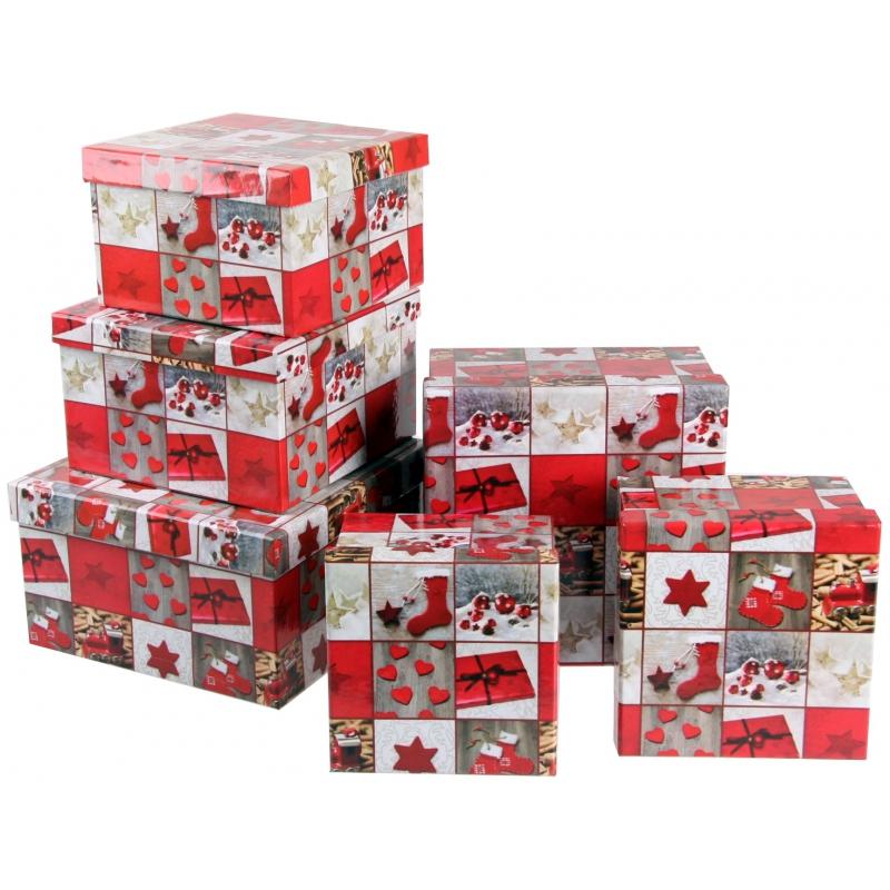 Kerst cadeaudoosje vierkant 16,5 cm