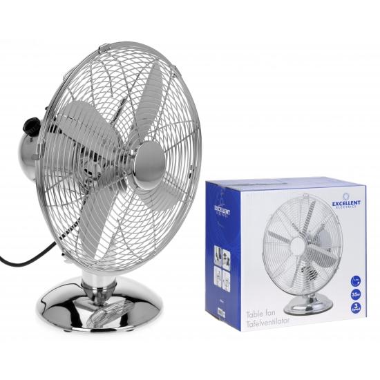 Kleine tafel ventilator zilver 30 cm (bron: Feestwinkel Fun en Feest)