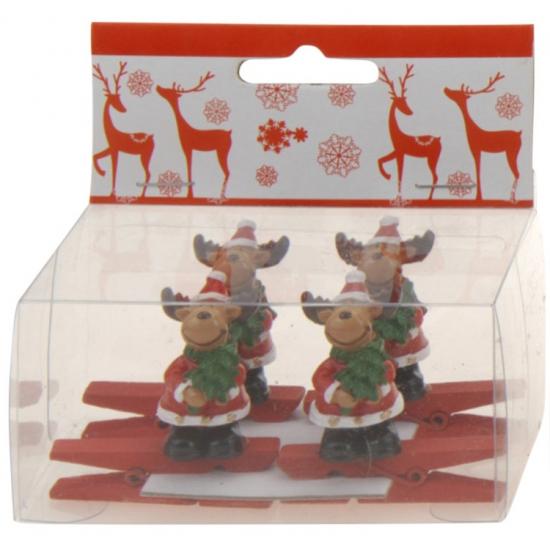 Knijper met rendier met kerstboom 4 stuks (bron: Feestwinkel Fun en Feest)