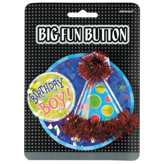 Mega button birthday boy (bron: Feestwinkel Fun en Feest)