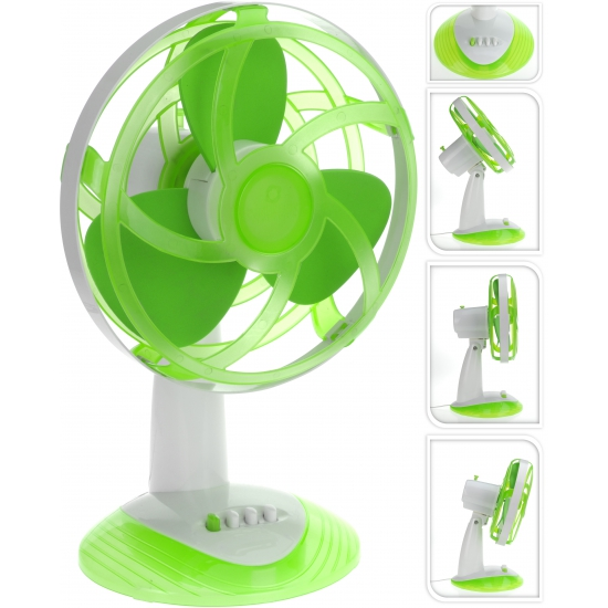 Mini tafel ventilator groen met wit 30 cm