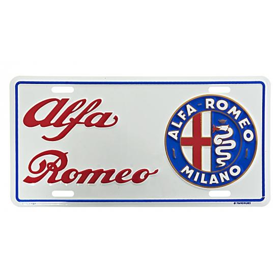 Muurplaatje Alfa Romeo (bron: Feestwinkel Fun en Feest)