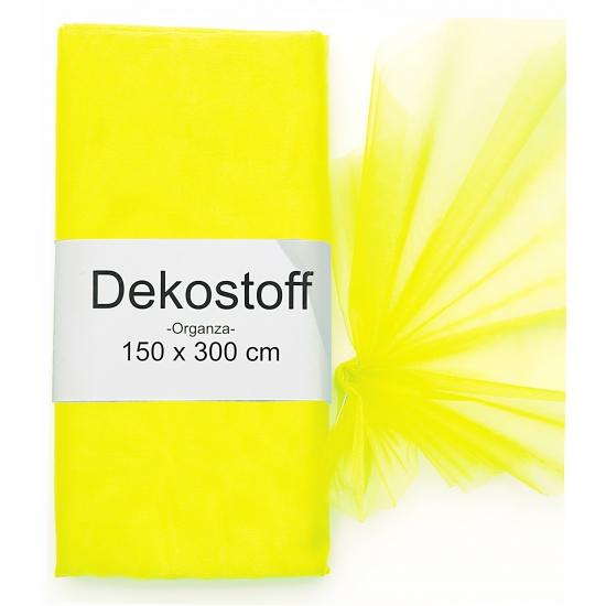 Neon gele organza stof op rol 150 x 300 cm (bron: Feestwinkel Fun en Feest)