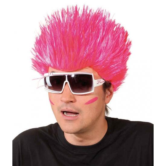 Neon roze pruik voor volwassenen