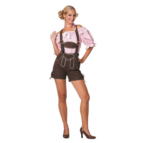 Oktoberfest donkerbruine lederhose voor dames (bron: Feestwinkel Fun en Feest)