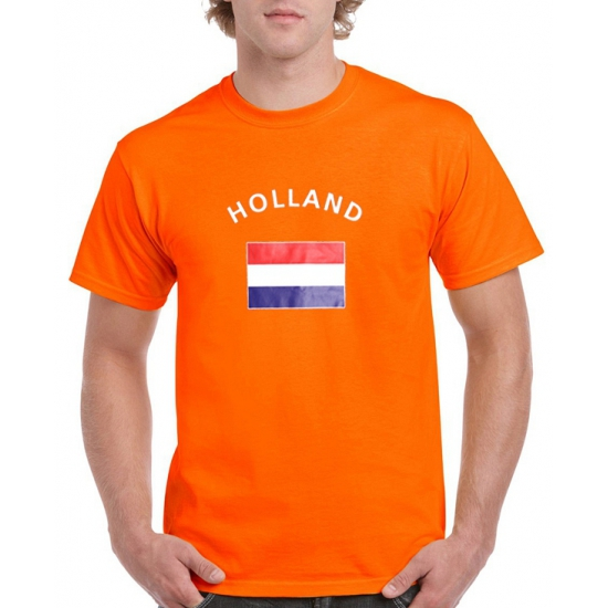 Oranje holland vlag t-shirts (bron: Feestwinkel Fun en Feest)