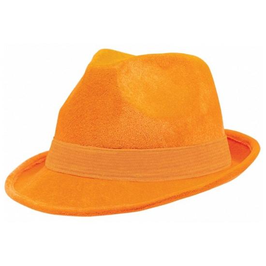 Oranje suede hoeden (bron: Feestwinkel Fun en Feest)