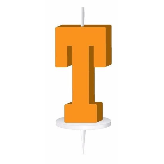 Oranje taart kaarsje letter T