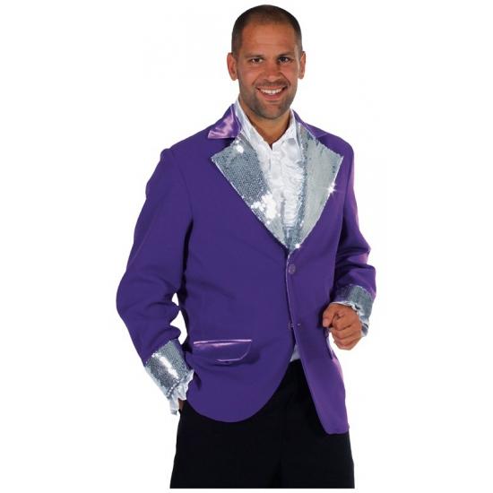 Paars / zilver glitter jas heren