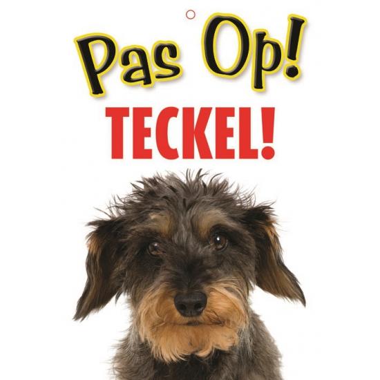 Pas op voor Teckel bordje (bron: Feestwinkel Fun en Feest)