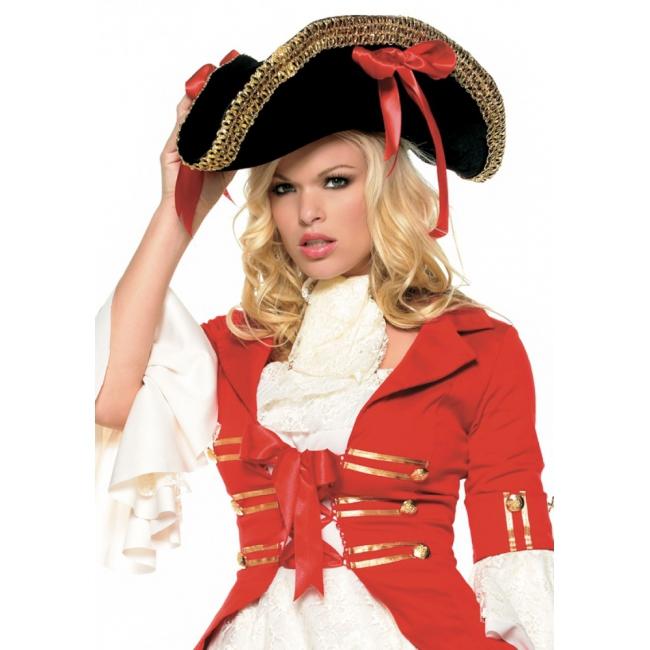 Piraat hoed zwart met strikken (bron: Feestwinkel Fun en Feest)