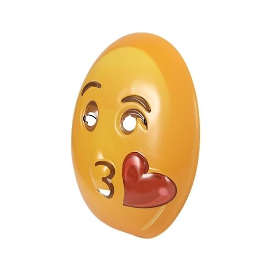 Plastic emoticon masker kusje (bron: Feestwinkel Fun en Feest)